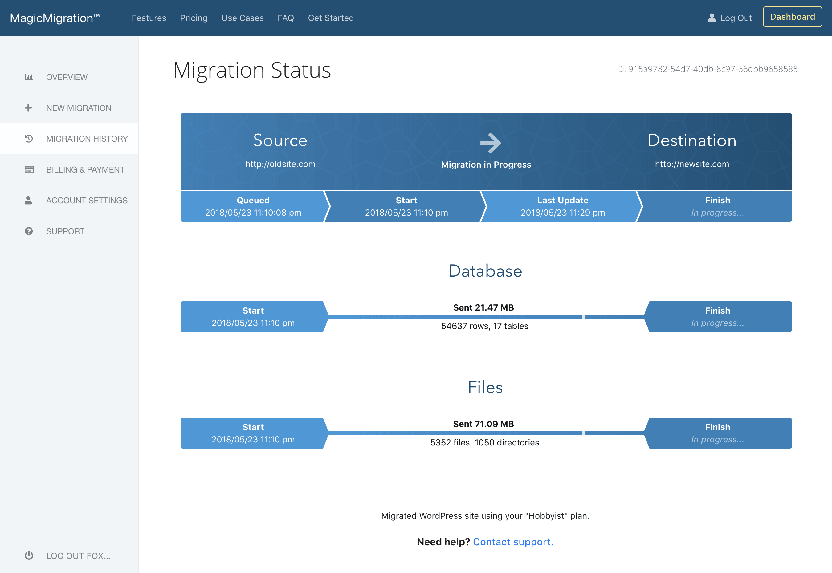 Migration Status Screenshot
